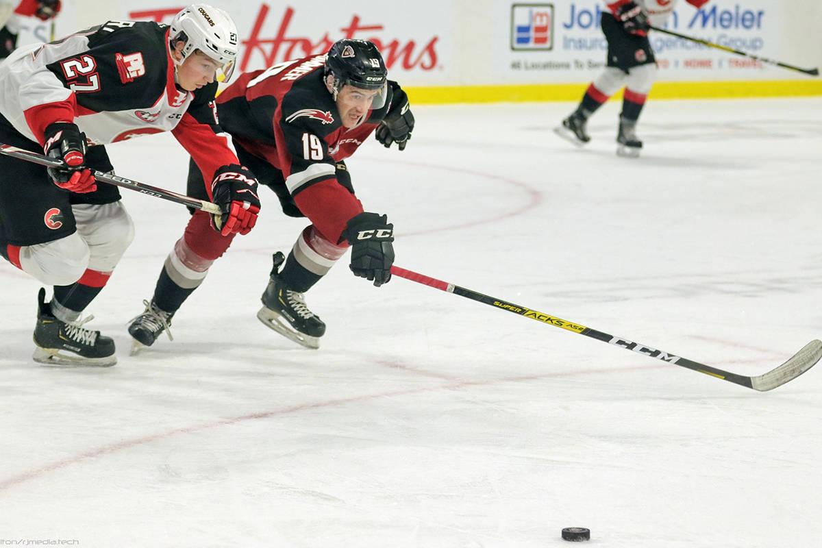Giants have loaned 2002-born forward Krz Plummer to the Alberta Junior Hockey League's Whitecourt Wolverines (Rob Wilton/Vancouver Giants)