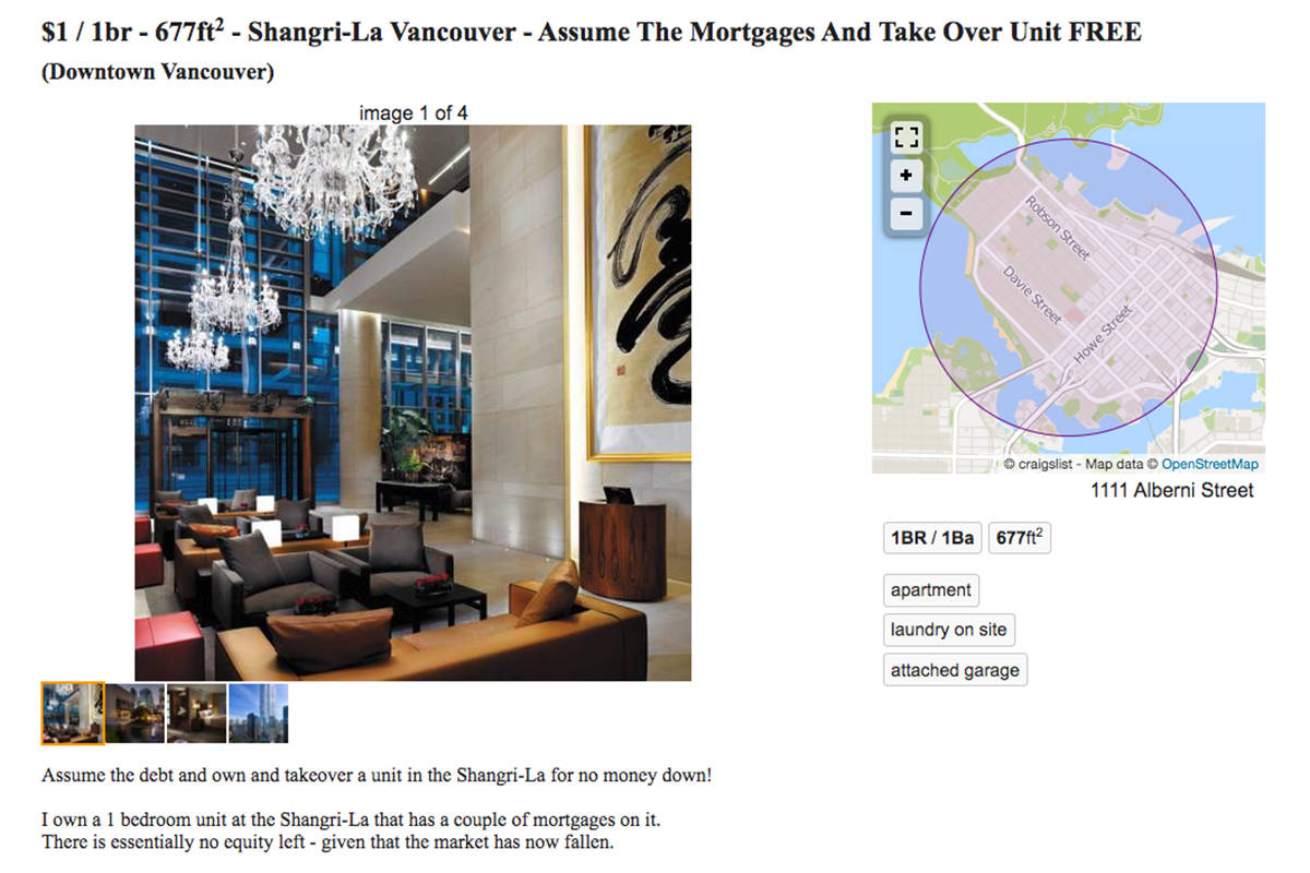 A one-bedroom unit at the Shangri-La in Vancouver is up on Craigslist for just $1 – but there's a catch. (Craigslist)