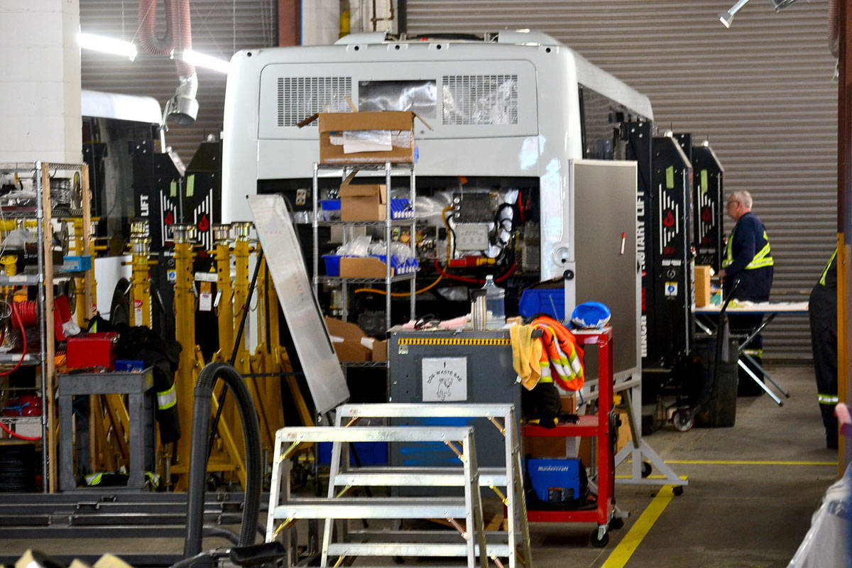 Inside the shop of Aldergrove-based transit company, Grande West. (Ryan Uytdewilligen/Aldergrove Star)