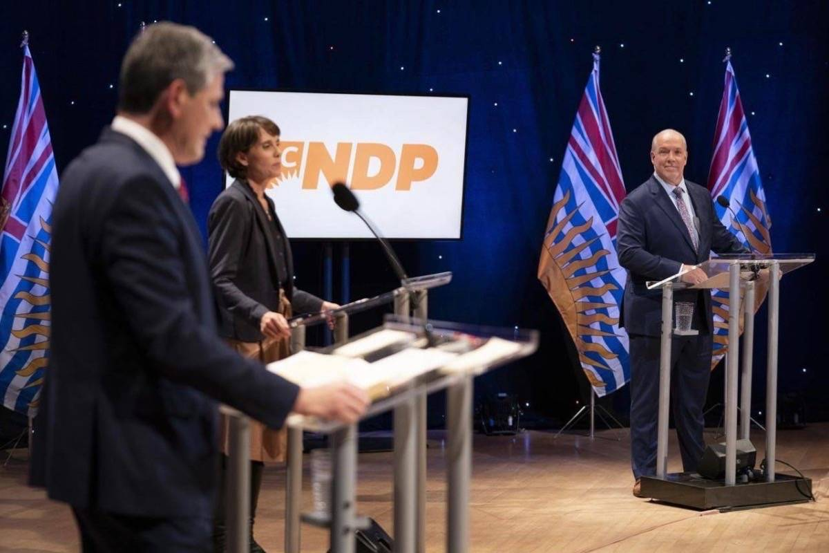 B.C. Liberal leader Andrew Wilkinson, B.C. Greens leader Sonia Furstenau and B.C. NDP leader John Horgan take part in election debate at the University of B.C., Oct. 13, 2020. (THE CANADIAN PRESS)