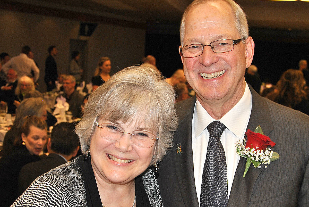 Township of Langley Mayor Jack Froese and his family have purchased the flagpole recently erected at the Murrayville cemetery. It will eventually have a plaque that will pay tribute to Froese's late wife, Debbie, who passed away in January. (Langley Advance Times files) Debbie and Jack Froese at one of the Township of Langley volunteer appreciation banquets. (Langley Advance Times files)