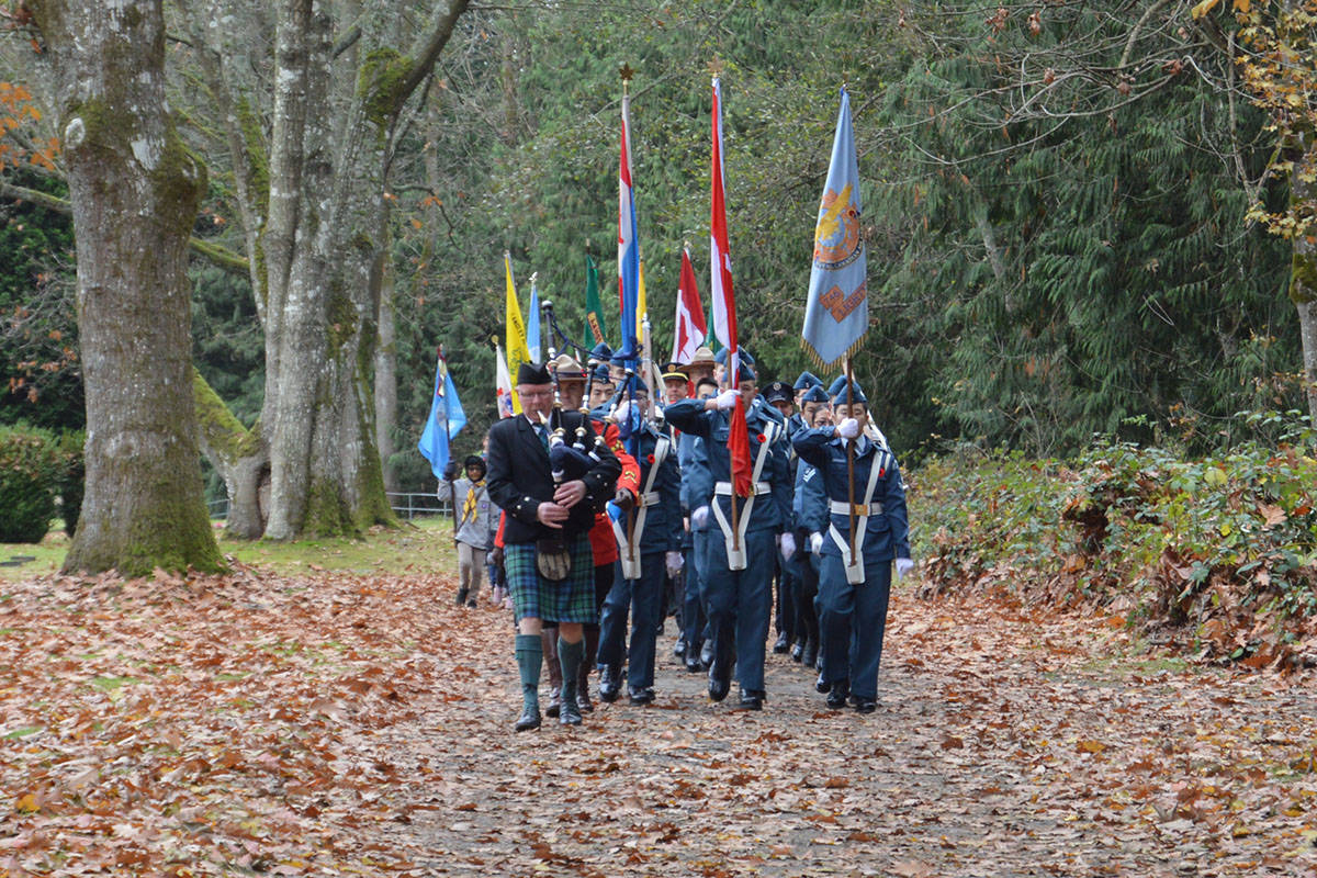Third annual Murrayville Remembrance Ceremony attracted upwards of 1,000 people on Nov. 11. (Ryan Uytdewilligen/Langley Advance Times) Last year's services at Murrayville cemetery attracted more than 1,500 people. This year, due to COVID, the service will be livestreamed, and only 40 people will be part of the on-site service. (Langley Advance Times files)