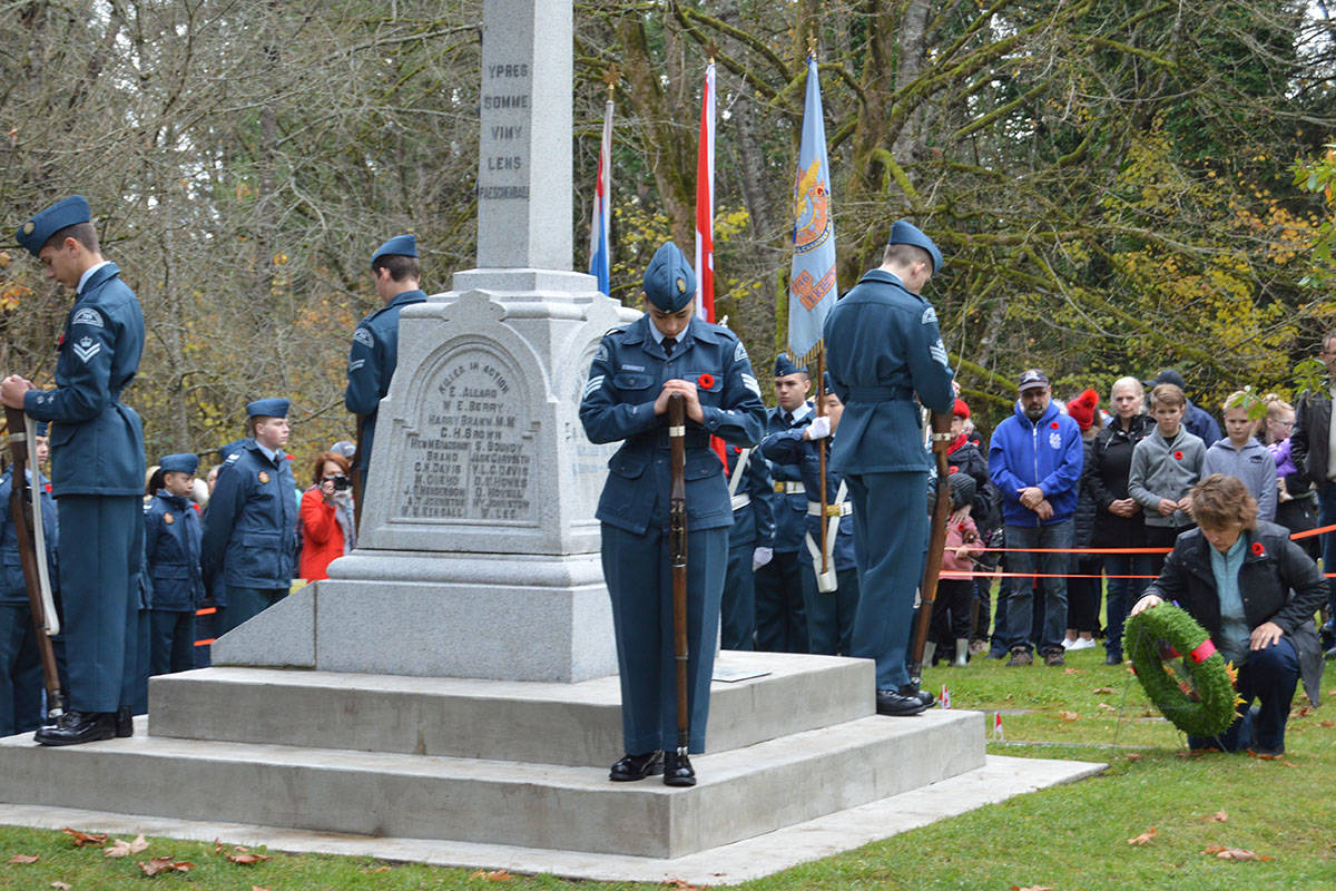 Last year's services at Murrayville cemetery attracted more than 1,500 people. This year, due to COVID, the service will be livestreamed, and only 40 people will be part of the on-site service. (Langley Advance Times files) Third annual Murrayville Remembrance Ceremony attracted upwards of 1,000 people on Nov. 11. (Ryan Uytdewilligen/Langley Advance Times)