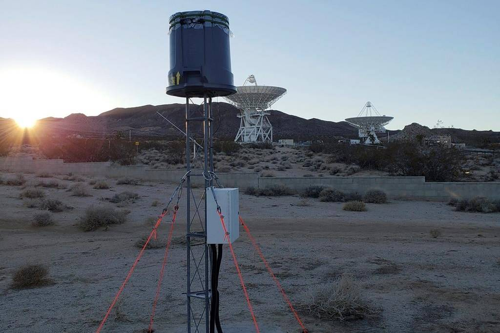 This undated photo provided by Caltech shows a STARE2 station made by radio astronomer Christopher Bochenek at the Goldstone Deep Space Communications Complex in California. On Wednesday, Nov. 5, 2020, astronomers say they used this system and a Canadian observatory to trace an April 2020 fast cosmic radio burst to our own galaxy and a type of powerful energetic young star called a magnetar. (Caltech via AP)