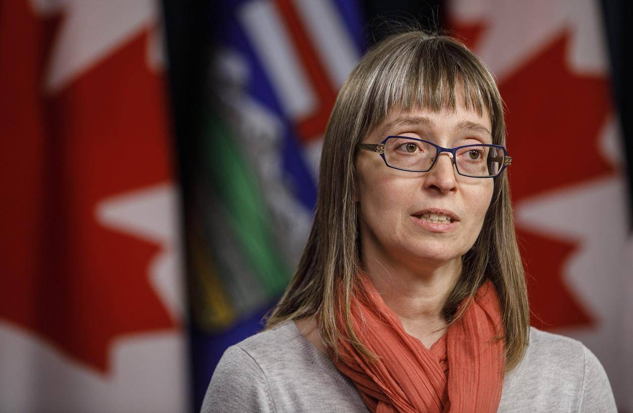 Alberta chief medical officer of health Dr. Deena Hinshaw updates media on the COVID-19 situation in Edmonton on March 20, 2020. Hinshaw says Canada's first case of H1N2v, a variant swine flu virus found in humans, has been detected in the central part of the province. The case is believed to be isolated with no increased risk to Albertans. THE CANADIAN PRESS/Jason Franson