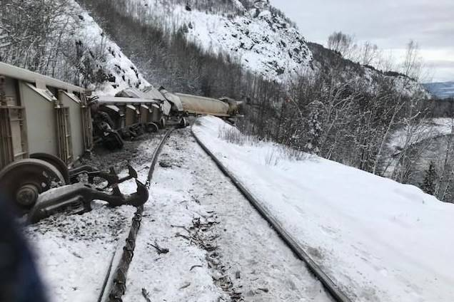A train derailment near Kitwanga, B.C., between Smithers and Terrace, is shown in this January 2020 handout photo. The Transportation Safety Board says a track failure contributed to the derailment of a freight train in northern British Columbia in January. The Canadian National Railway Co. train was travelling between Smithers and Terrace when 34 rail cars carrying wood pellets derailed. THE CANADIAN PRESS/HO - Transportation Safety Board of Canada
