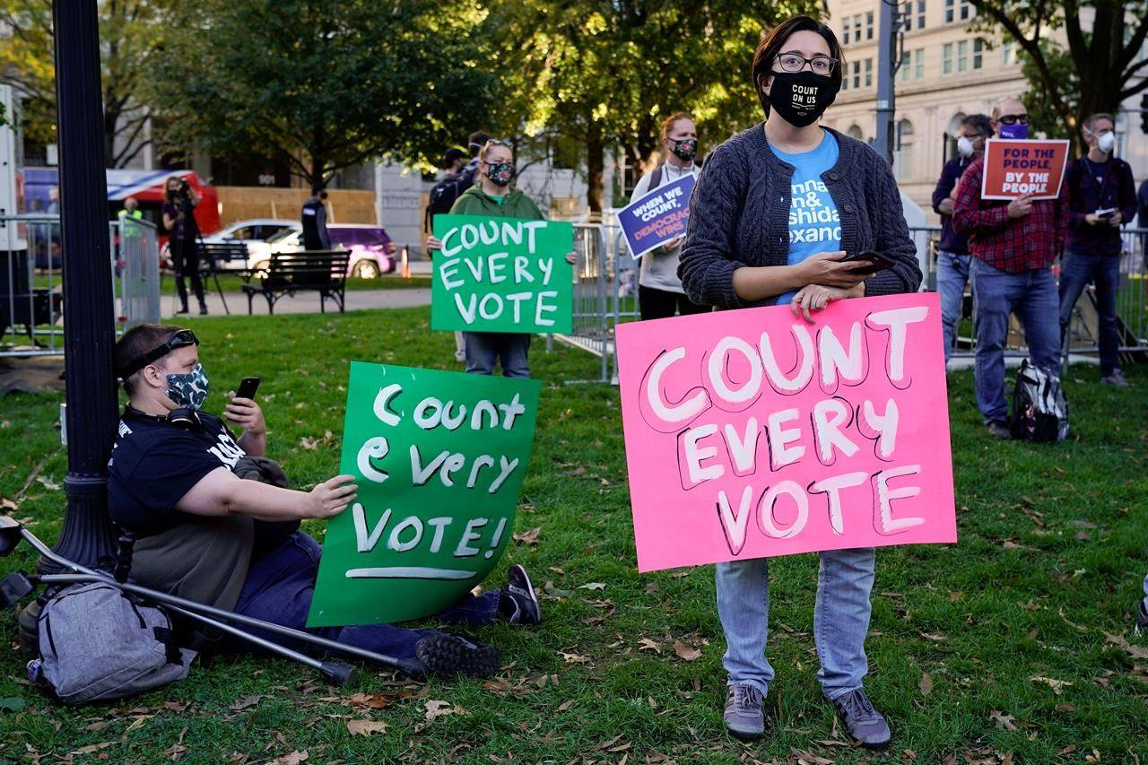 Demonstrators attend a rally in McPherson Square to support the counting of all votes the day after Election Day, Wednesday, Nov. 4, 2020, in Washington. (AP Photo/Jacquelyn Martin)