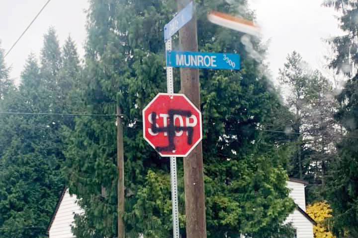 City of Terrace road crews had to replace this stop sign at the corner of Davis St. and Munroe Ave. in Terrace two times after someone spray-painted a swastika on it on Nov. 3 and again on Nov. 4. (Callan Williamson/Facebook)