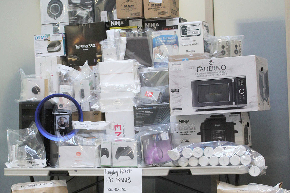 The Langley RCMP executed a warrant on a Willoughby home Oct. 30 and seized about $20,000 in merchandise. (Langley RCMP)
