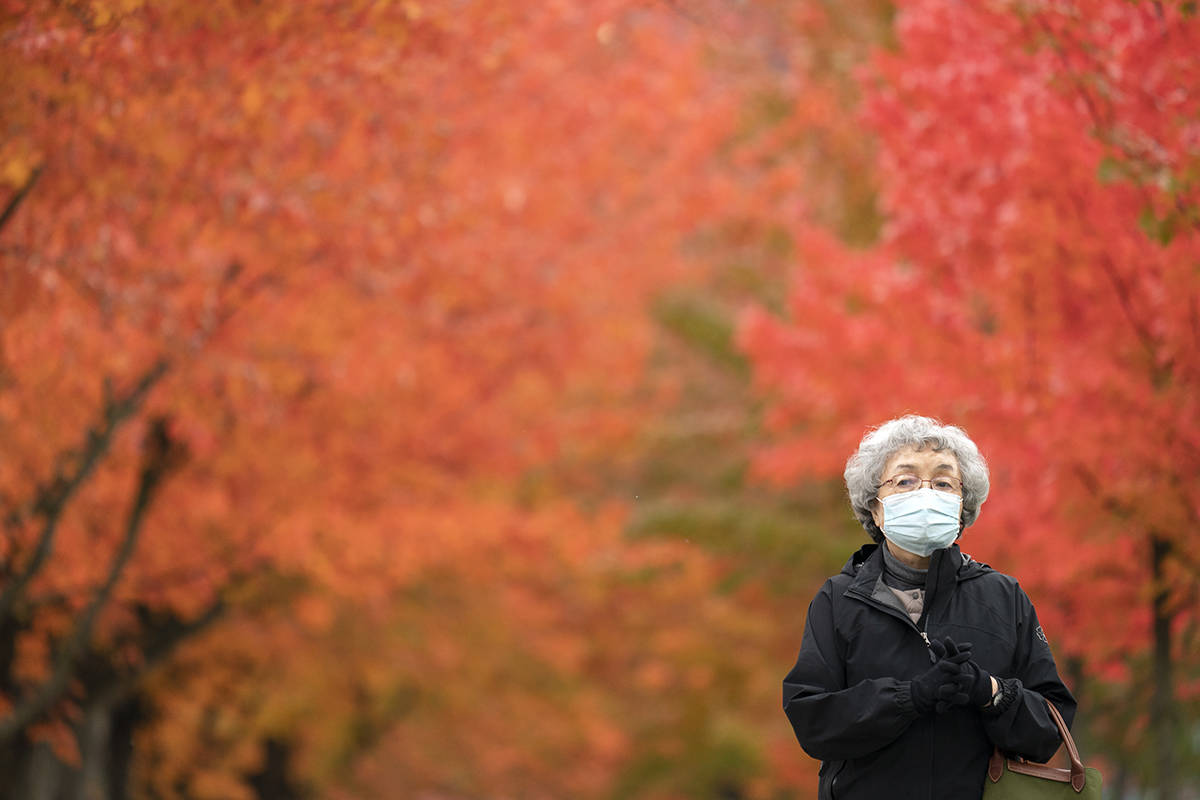 A woman wears a mask to protect herself against COVID-19 as he walks past trees turning colour in Vancouver, B.C., Monday, Nov. 2, 2020. THE CANADIAN PRESS/Jonathan Hayward
