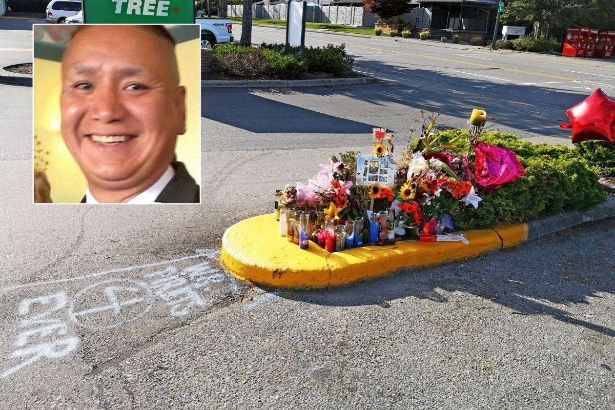 A memorial to Paul Prestbakmo (inset) grew quickly on the median adjacent to where he died, after suffering stab wounds in the early hours of Aug. 16. (File photo/Facebook photo)