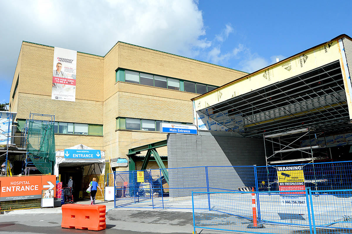 The medicine ward at Langley Memorial Hospital has been closed to admissions after a staff member tested positive for COVID-19 today (Thursday, Nov. 5, 2020). (Langley Advance Times files)
