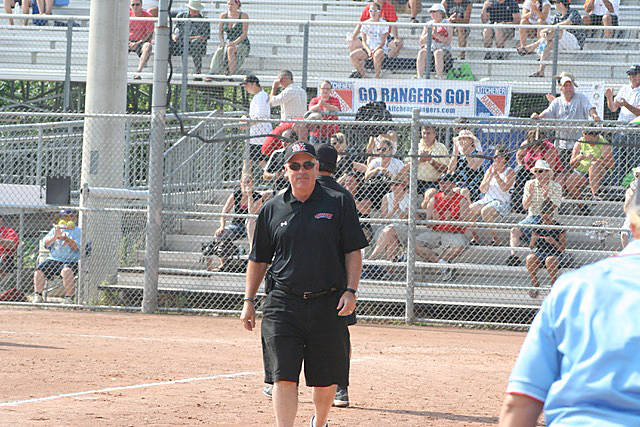 Softball BC Hall of Fame inductee Rick O'Connor, on the field with the White Rock Renegades during the 2010 Senior Women's Canadian Championships in Kitchner, Ont., at which White Rock won gold. (Contributed photo)