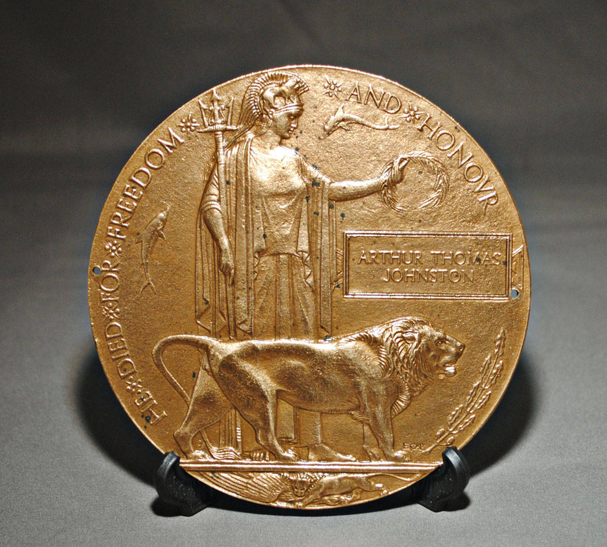 Arthur Thomas Johnston was a Langley shopkeeper who died in Europe in 1916. The special bronze plaque sent to his family after he war is known as a Dead Man's Penny. (Langley Centennial Museum)