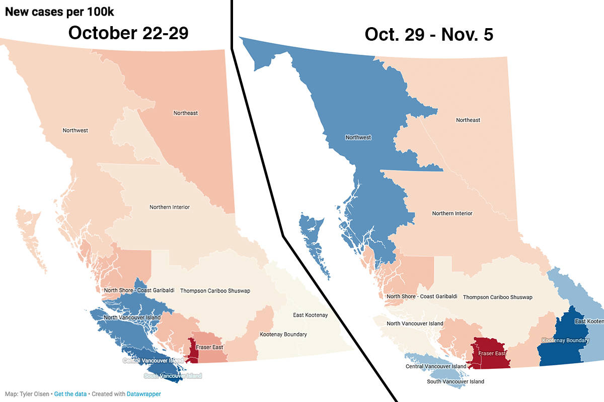 COVID-19 cases are increasing across British Columbia's most-populated regions. Maps and charts by Tyler Olsen