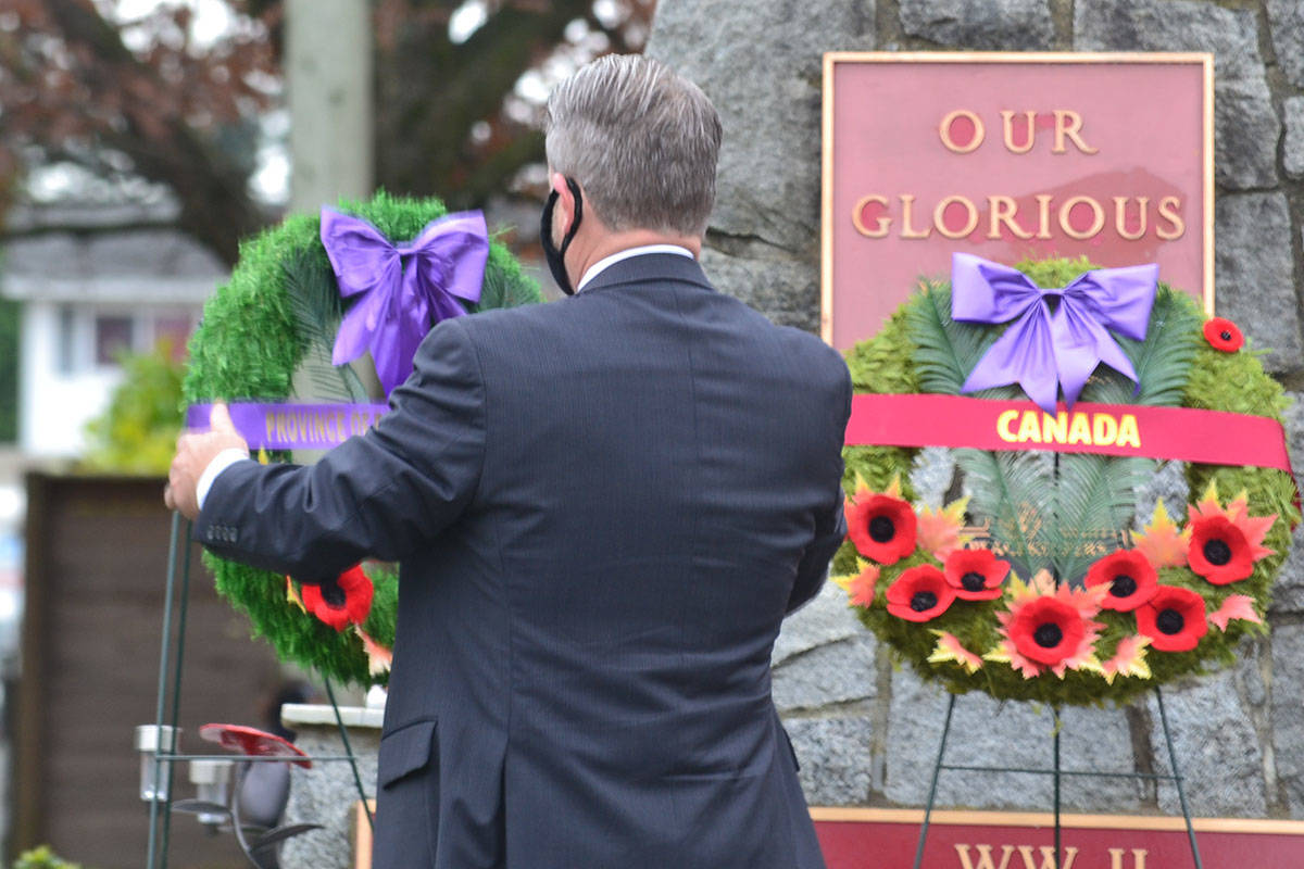 Aldergrove legion branch #265 held a socially distanced Remembrance Day ceremony that was livestreamed to the public on Wednesday morning. (Ryan Uytdewilligen/Aldergrove Star)