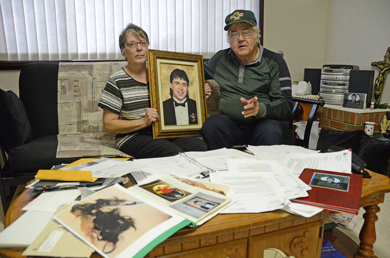 Gladys and Ed Scherbey, pictured here in 2013 in their home, complained for years about the RCMP investigation into their son Corey's 2011 death insisting he was murdered. A BC Coroner's jury concluded on Nov. 5, 2020 that his death was accidental due to cocaine and alcohol toxicity. (Paul Henderson/ Black Press file)