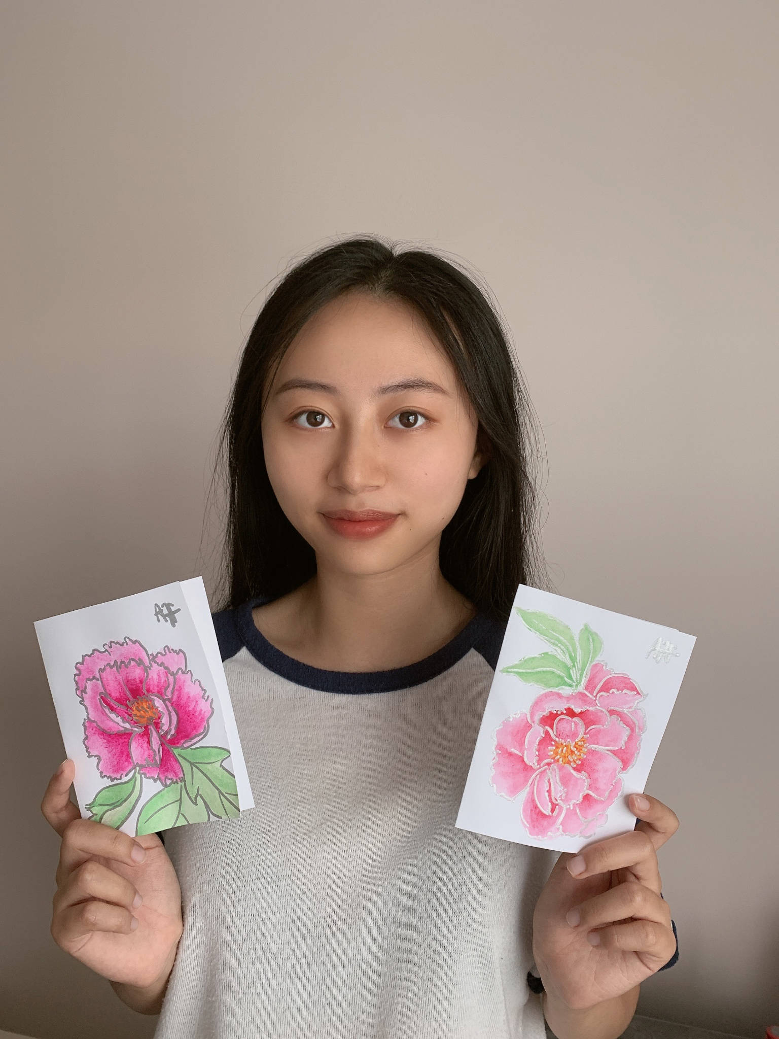 Alice He, Drade 12 student at R.E. Mountain Secondary started the Handmade Cards Project card project for Langley seniors. (Alice He/Special to Langley Advance Times)