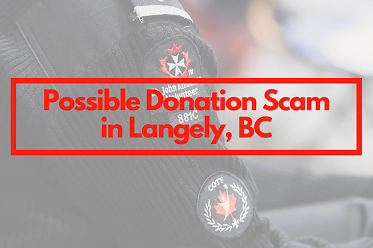 St. John Ambulance has issued a public warning about an apparent fraudster claiming to be collecting for the charity in Langley (St. John Facebook image)