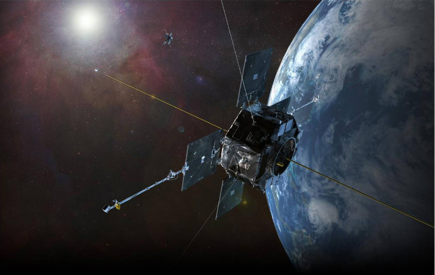 This illustration depicts NASA's twin Van Allen Probes in orbit within Earth's magnetic field to explore the radiation belts. (NASA photo)