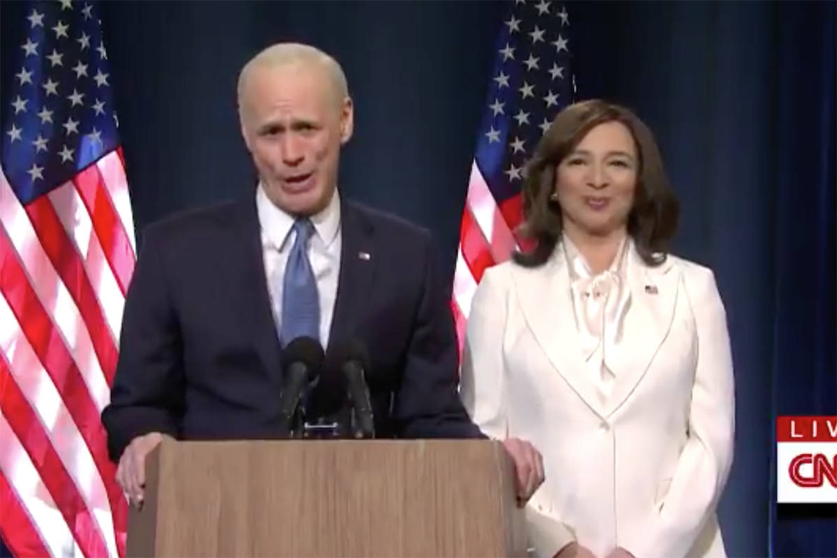 "Jim Carrey as President-elect Joe Biden and Maya Rudolph as Vice President-elect Kamala Harris in the Nov. 7, 2020, episode of ""Saturday Night Live."" (Twitter)"
