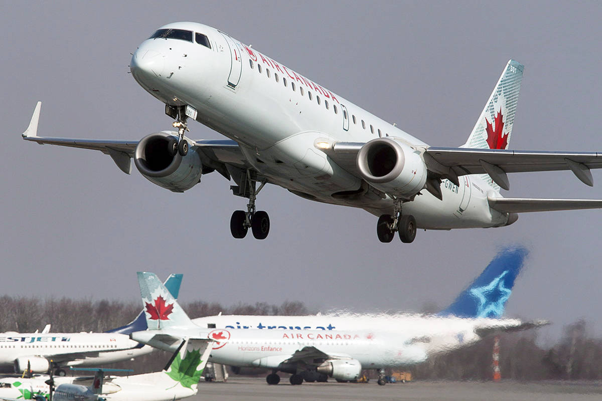 FILE – An Air Canada jet takes off from Halifax Stanfield International Airport in Enfield, N.S. on Thursday, March 8, 2012. (The Canadian Press)