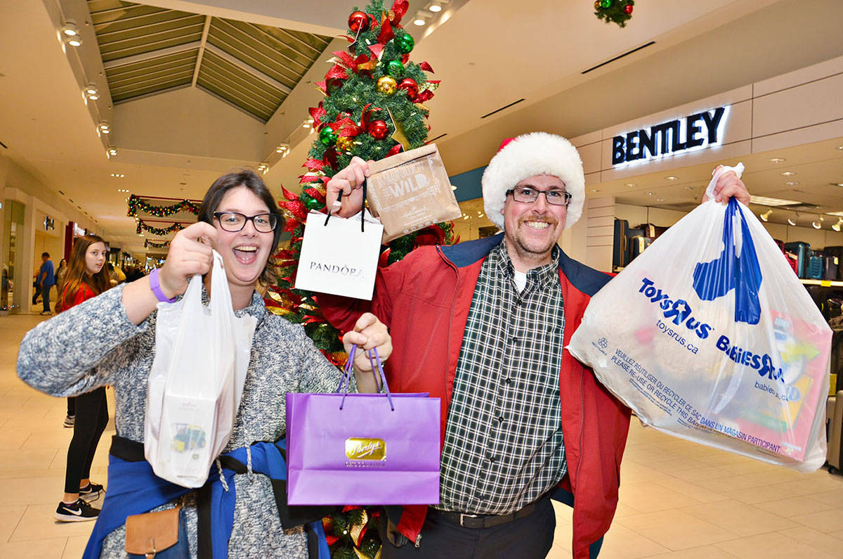 In previous years, shoppers such as Kya Bezanson and Christopher Lakusta could attend Charity Shopping Night at Willowbrook Shopping Centre in-person. This year the event has moved online due to COVID-19. (Langley Advance Times file)