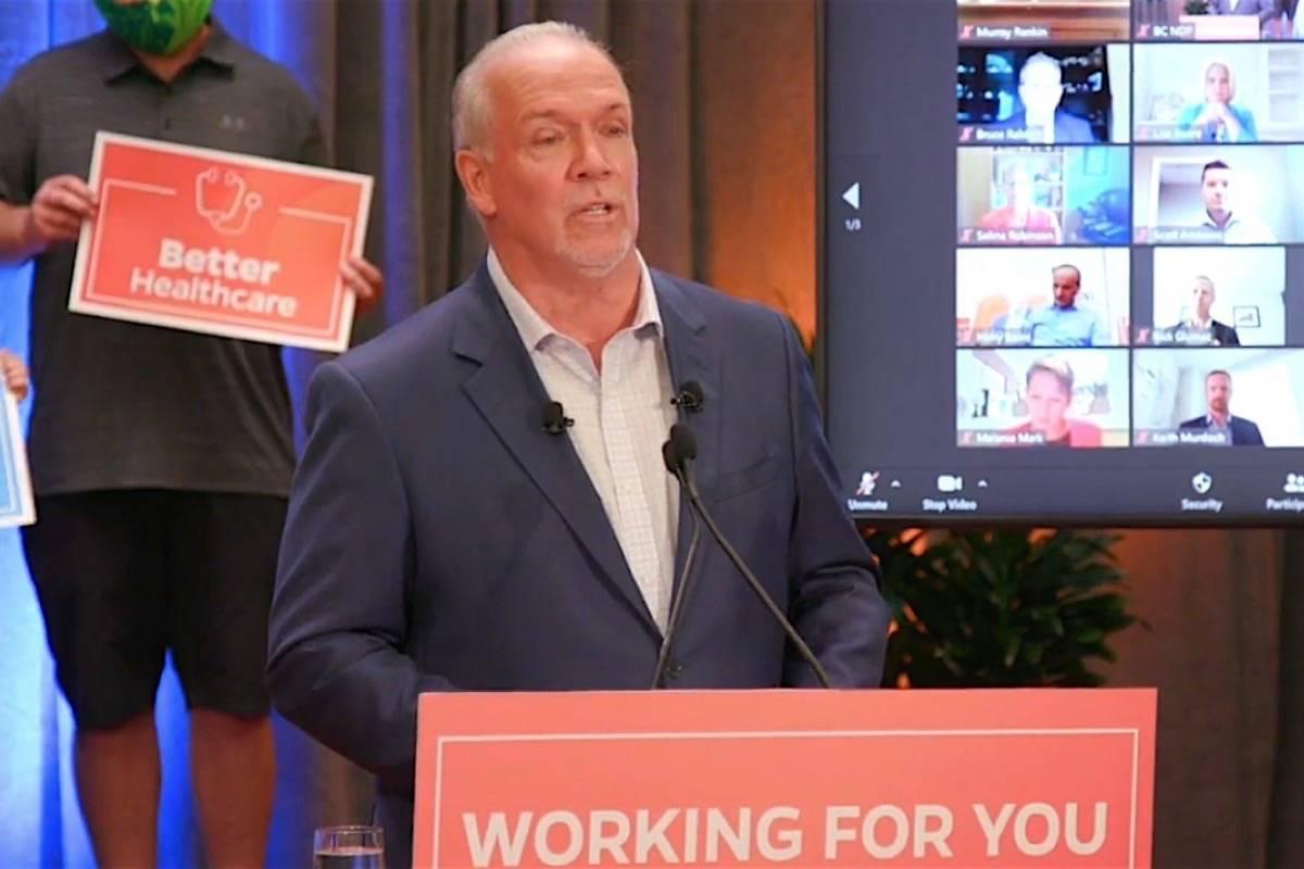 B.C. NDP leader John Horgan releases his election platform, Vancouver, Oct. 6, 2020. (B.C. NDP photo)