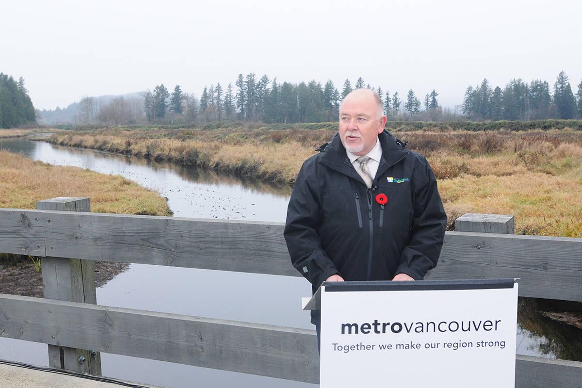 Pitt Meadows Mayor Bill Dingwall at Monday's park land acquisition announcement. (Neil Corbett/The News)