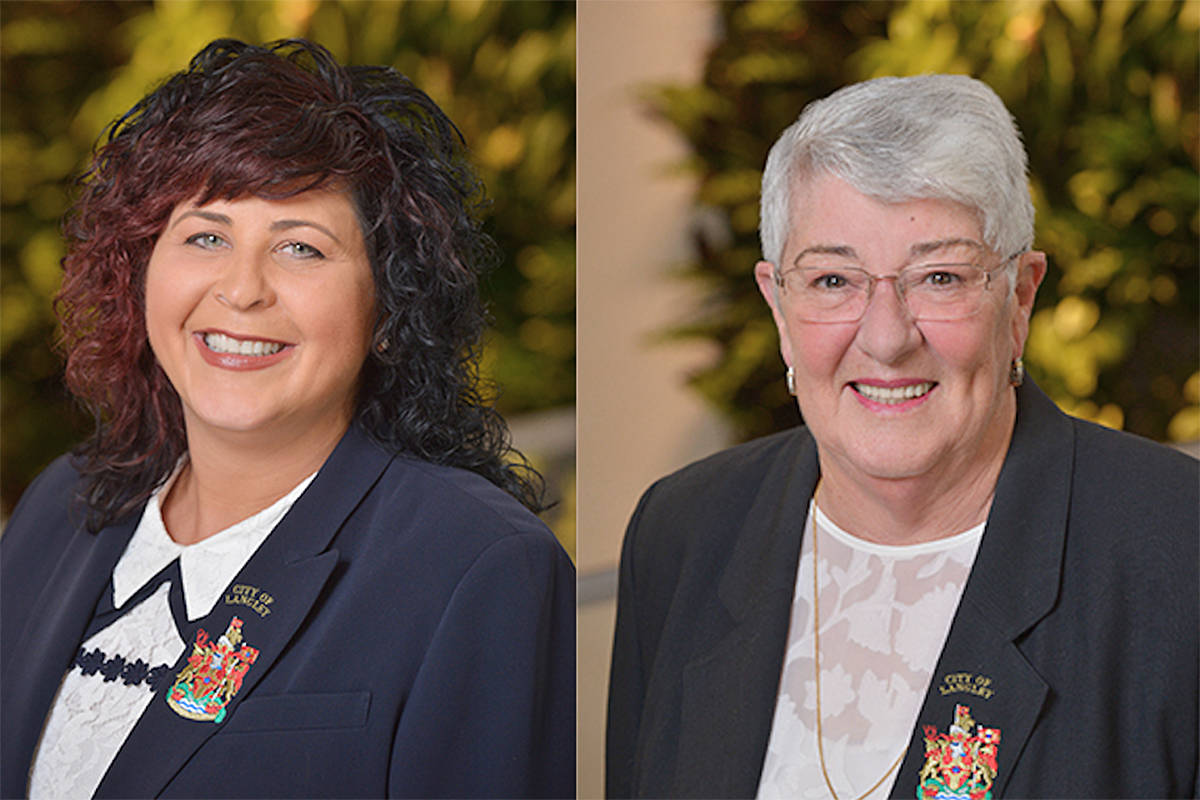 Langley City council voted to appoint councillor Gayle Martin (R) to the Metro Vancouver board of directors in place of mayor Val van den Broek (L). The decision was made at a closed-door meeting of council on Monday, Nov. 2, 2020. (file)