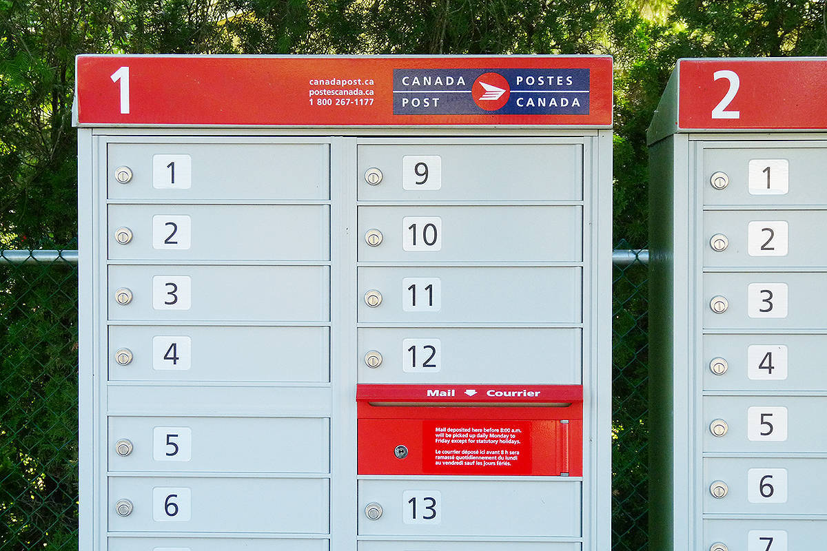 While outdoor postal boxes like these have been redesigned to make them harder for thieves to rob, lobby mail boxes are still vulnerable. Police have issued a warning to residents of Langley. (File)