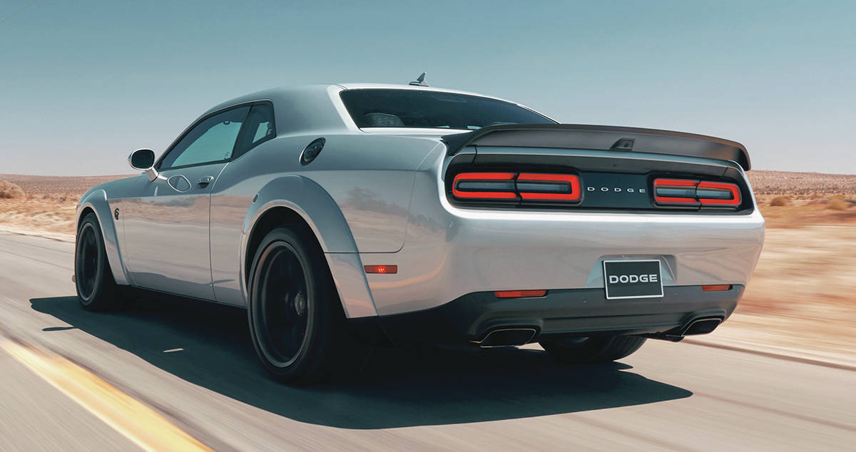 The fender flares of the wide-body Dodge Challenger allow wider tires for better traction. PHOTO: FCA