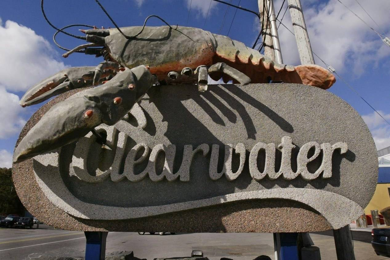 A model of a giant lobster marks the headquarters of Clearwater Fine Foods Inc., in Halifax, Wednesday, Oct. 19, 2005. Clearwater Fine Foods is being sold to Premium Holdings and a group of Mi'kmaq First Nations. THE CANADIAN PRESS/Andrew Vaughan