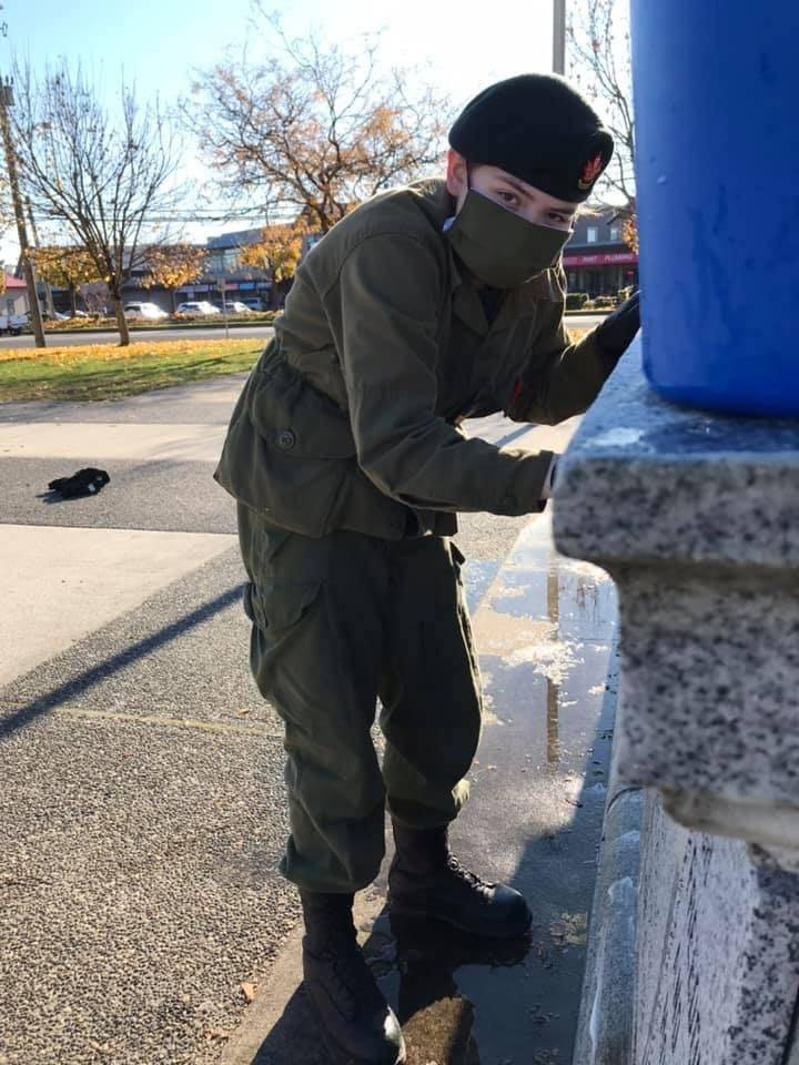 Cadets from Langley's 2277 Seaforth Highlanders cadet corps cleaned the Langley and Cloverdale cenotaphs Nov. 9. (Photo: Lieutenant Dawn Royle)