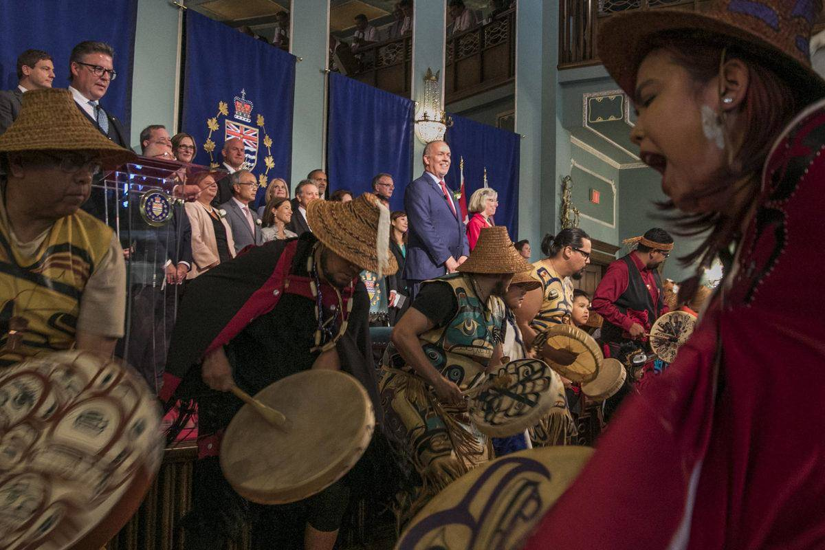 B.C. Premier John Horgan's July 18, 2017 cabinet swearing-in ceremony at Government House featured Songhees dancers. COVID-19 precautions will require a much simpler affair. (Arnold Lim/Black Press Media)