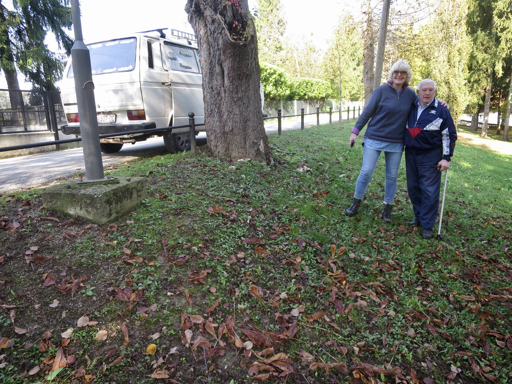 Heather Maling and Zvonko near the place where the Wellington crew was first buried before being interred in Belgrade. Photo: Submitted