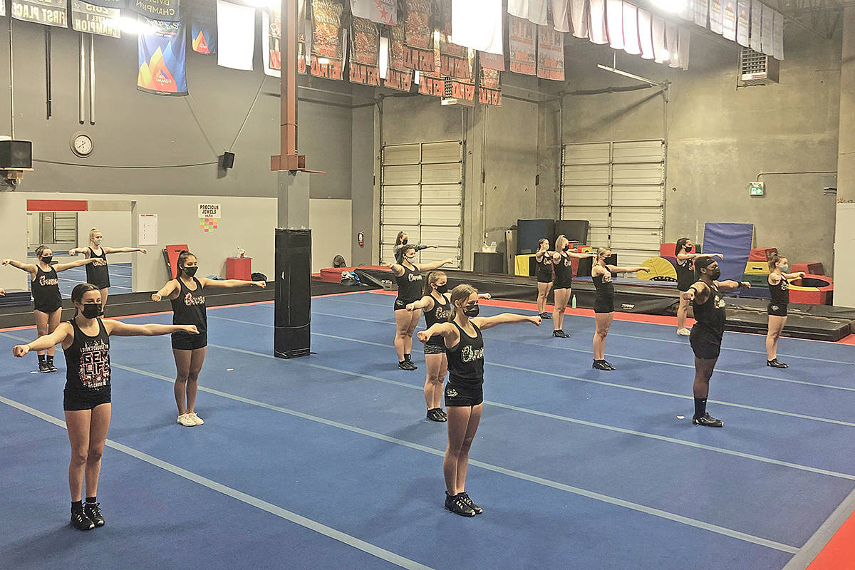 At the Langley Cheer and Athletics Gym, athletes were back to training six feet apart under newly tightened restrictions on Tuesday, Nov. 10 (Sam Farrell/special to Langley Advance Times)