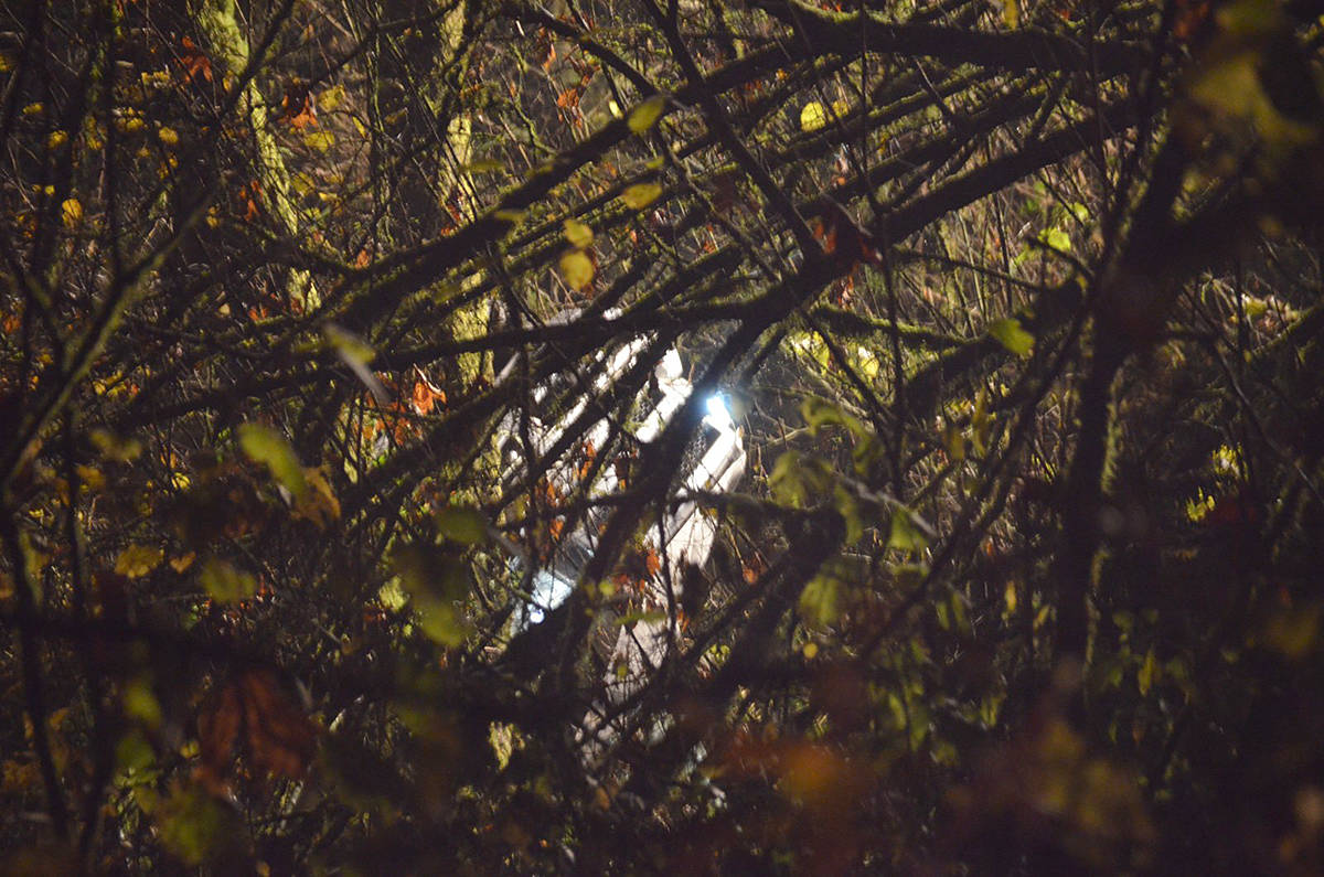 A car was found at the bottom of a 100-foot embankment in the Glen Valley neighbourhbood of Langley late Tuesday night. The lone occupant was taken to hospital. (Curtis Kreklau/South Fraser News Services)