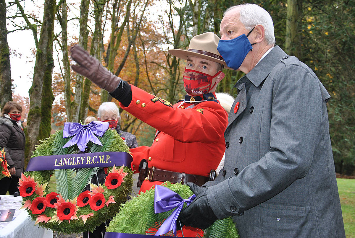 Remembrance Day 2020, Murrayville Cemetery with invite only attendees participating in a livestreaming service. The service included recent Murrayville resident and Mayor Jack Froese, who laid a wreath on behalf of the Township. (Roxanne Hooper/Langley Advance Times)