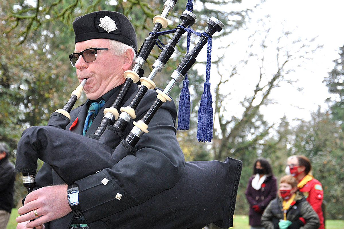 Remembrance Day 2020, Murrayville Cemetery with invite only attendees participating in a livestreaming service. The ceremony featured a few performances by piper John McCallum. (Roxanne Hooper/Langley Advance Times)
