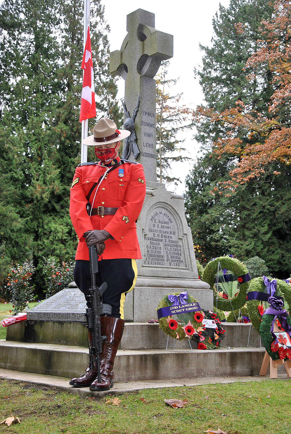 Remembrance Day 2020, Murrayville Cemetery with invite only attendees participating in a livestreaming service. (Roxanne Hooper/Langley Advance Times)