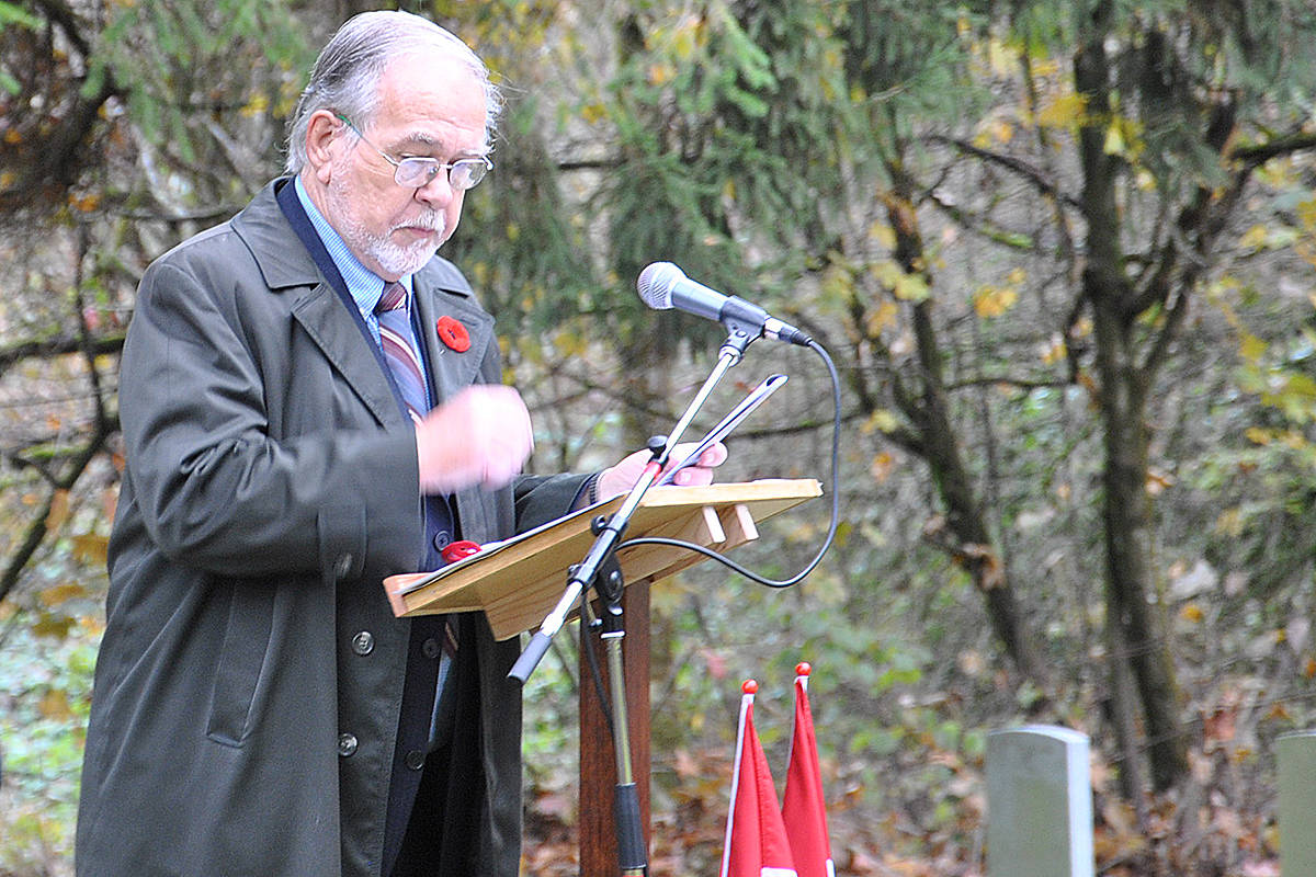 Remembrance Day 2020, Murrayville Cemetery with invite only attendees participating in a livestreaming service. The service included Fred Dalkeith's reading of his poem The Parade Ground Beneath Our Feet. (Roxanne Hooper/Langley Advance Times)
