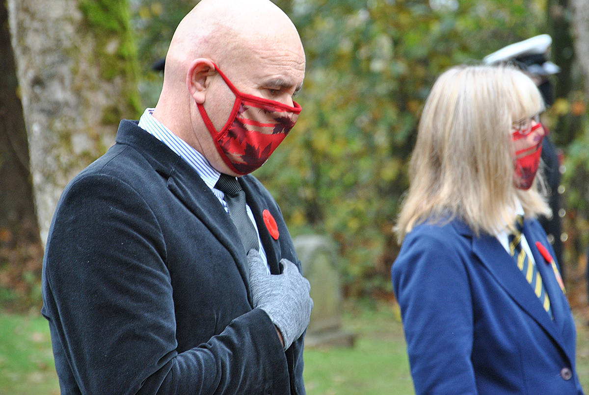 Remembrance Day 2020, Murrayville Cemetery with invite only attendees participating in a livestreaming service. Among those in attendance was school trustee David Tod and Aldergrove legion's Karen Long. (Roxanne Hooper/Langley Advance Times)