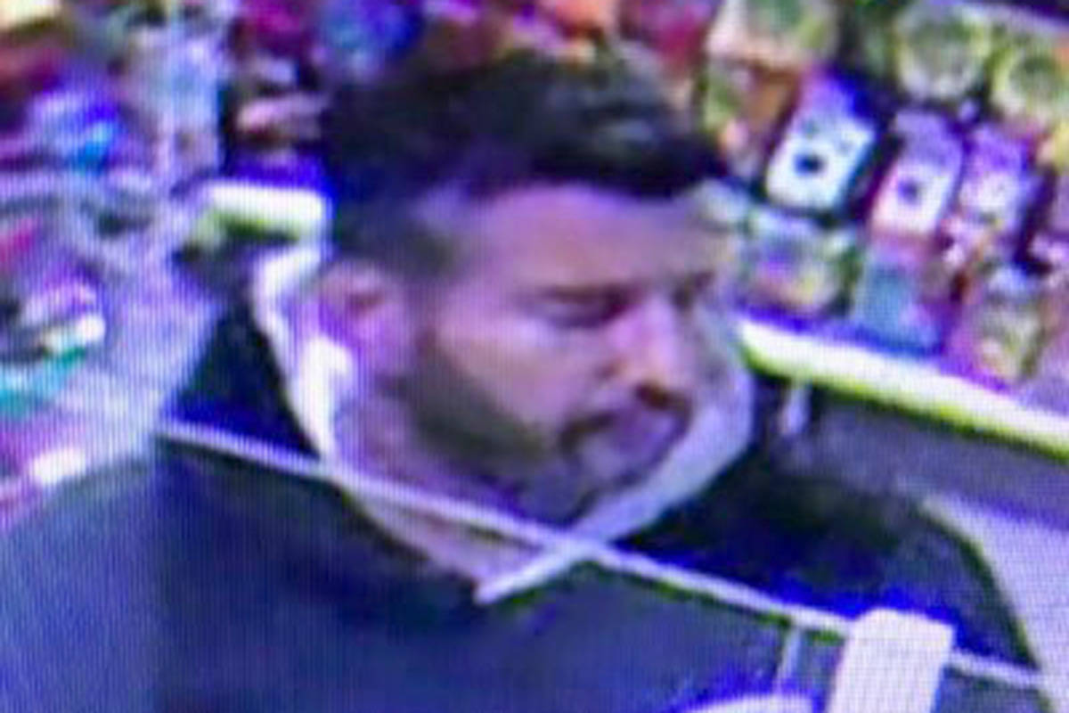 Langley RCMP are looking for a suspect who allegedly stole items from a 7-Eleven and then returned them for cash. (Langley RCMP/Special to the Langley Advance Times)