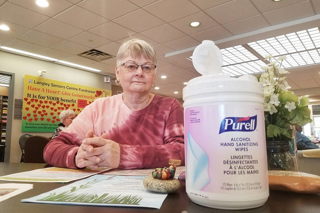 When the pandemic first started, people such as Loretta Solomon, a director of the Langley Senior Recreation and Resource Centre, took steps to combat the spread of the COVID-19 virus. But the latest provincial restrictions means recreation and social programs are on hold. (Dan Ferguson/Langley Advance Times)