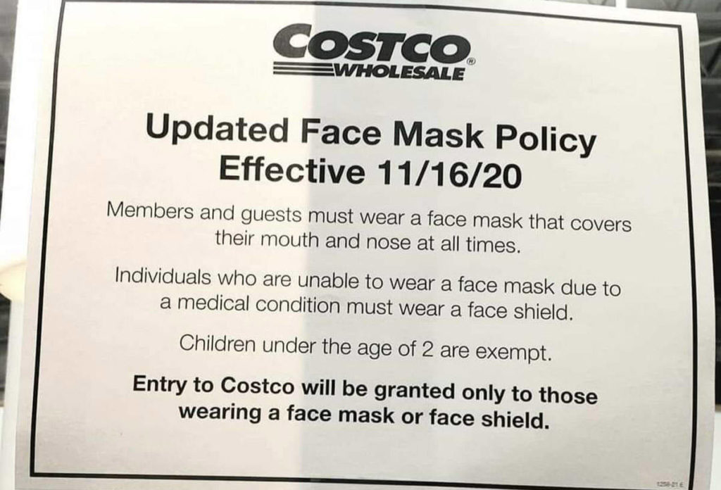 Costco will no longer be allowing non-medical mask exemptions, beginning Nov. 16, 2020. (Facebook)