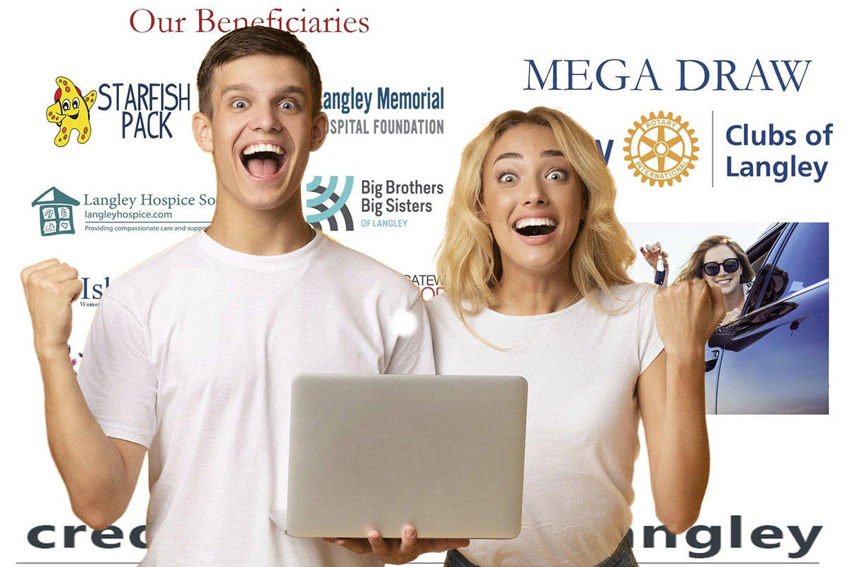 The four Langley Rotary clubs launched their 50/50 MEGA Draw lottery last month – which will see a grand prize winner take home up to $100,000. (Rotary Club of Langley/Special to The Star)