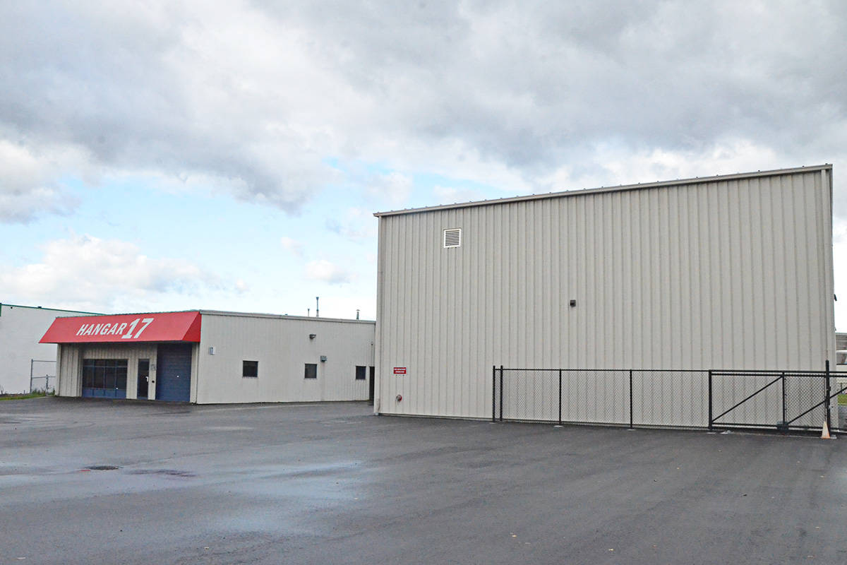 Hangar 17 includes both the smaller building with the red awning and the larger two-storey building on the right of the photo. (Matthew Claxton/Langley Advance Times)