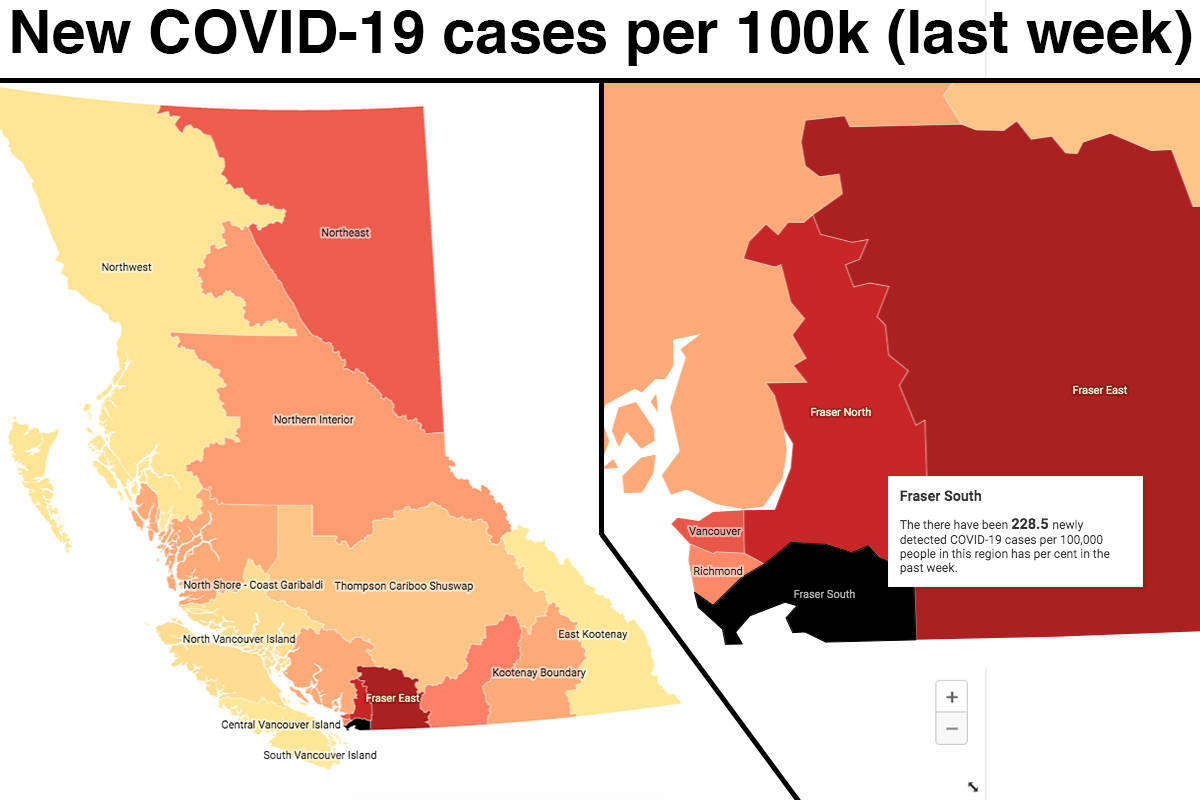 The number of newly diagnosed cases of COVID-19 rose significantly across the province last week. (Map: Tyler Olsen)