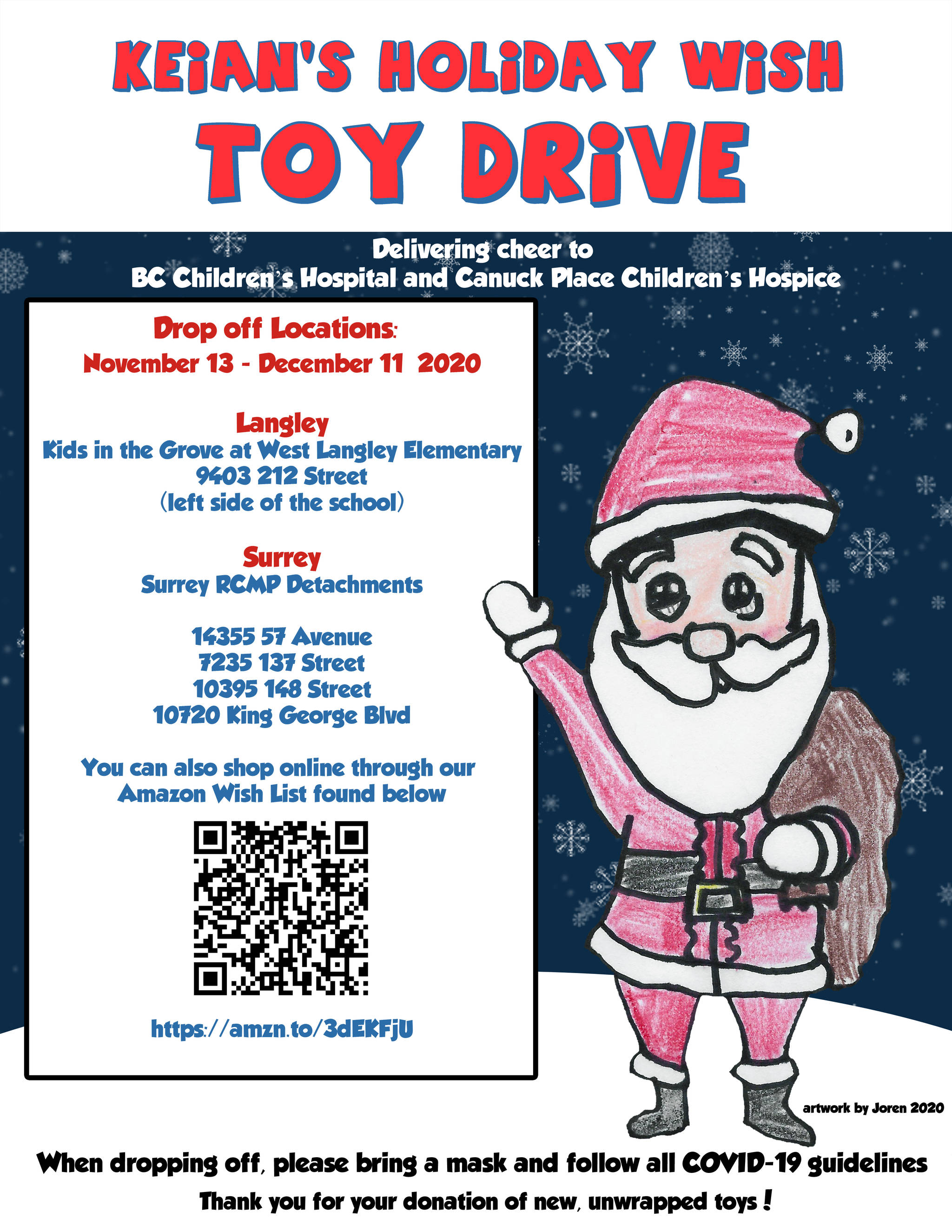 Keian's Holiday Wish Toy Drive run Nov. 13 to Dec. 13. Shop the wish list by visiting the website on the poster or scan the QR code on your cellphone app. Gifts can be sent directly to the Blundell family. (Blundell family/Special to Langley Advance Times)